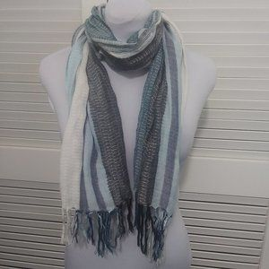 Accessories - Blue and Black Scarf with Silver Sparkle